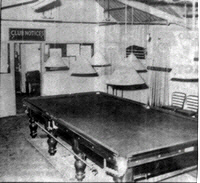 Snooker table in Old clubhouse